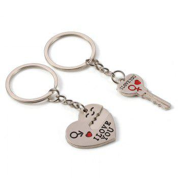 Fashion Simple Heart-shaped Lovers Silver Key Buckle - SILVER SILVER