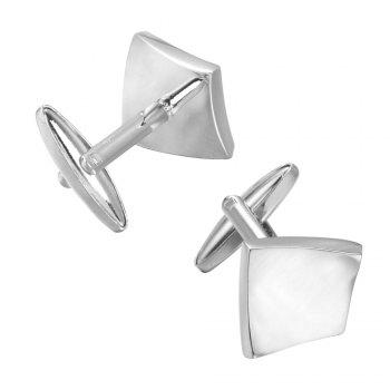 Simple U Square Silver Cufflinks Cuff Personality - SILVER