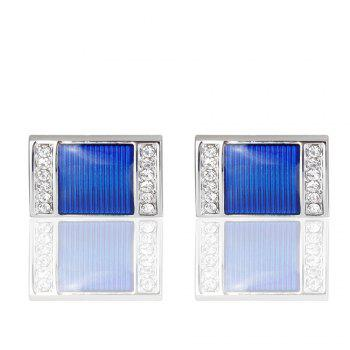 The New Blue Crystal Cufflinks Square Oil Cuff Links - BLUE BLUE