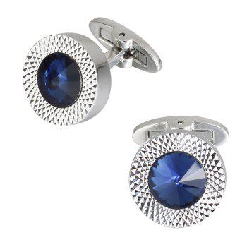 High Quality Austria Crystal Sleeve Nail High Grade Male Dark Blue Sleeve Cuff Links -  BLUE