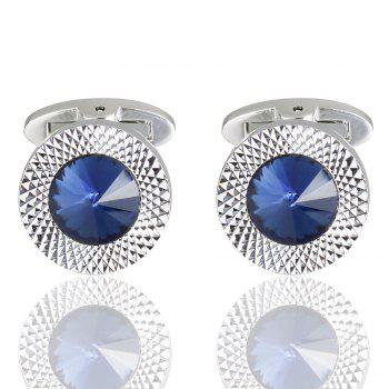 High Quality Austria Crystal Sleeve Nail High Grade Male Dark Blue Sleeve Cuff Links - BLUE BLUE