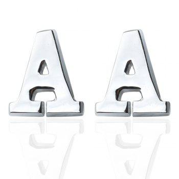 Fashion Silver Plated 26 English Letters Metal Cufflinks A Cuff Links - SILVER SILVER