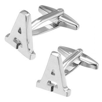 Fashion Silver Plated 26 English Letters Metal Cufflinks A Cuff Links -  SILVER