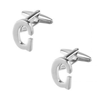 Fashion Silver Plated 26 English Letters Metal Cufflinks C Cuff Links - SILVER