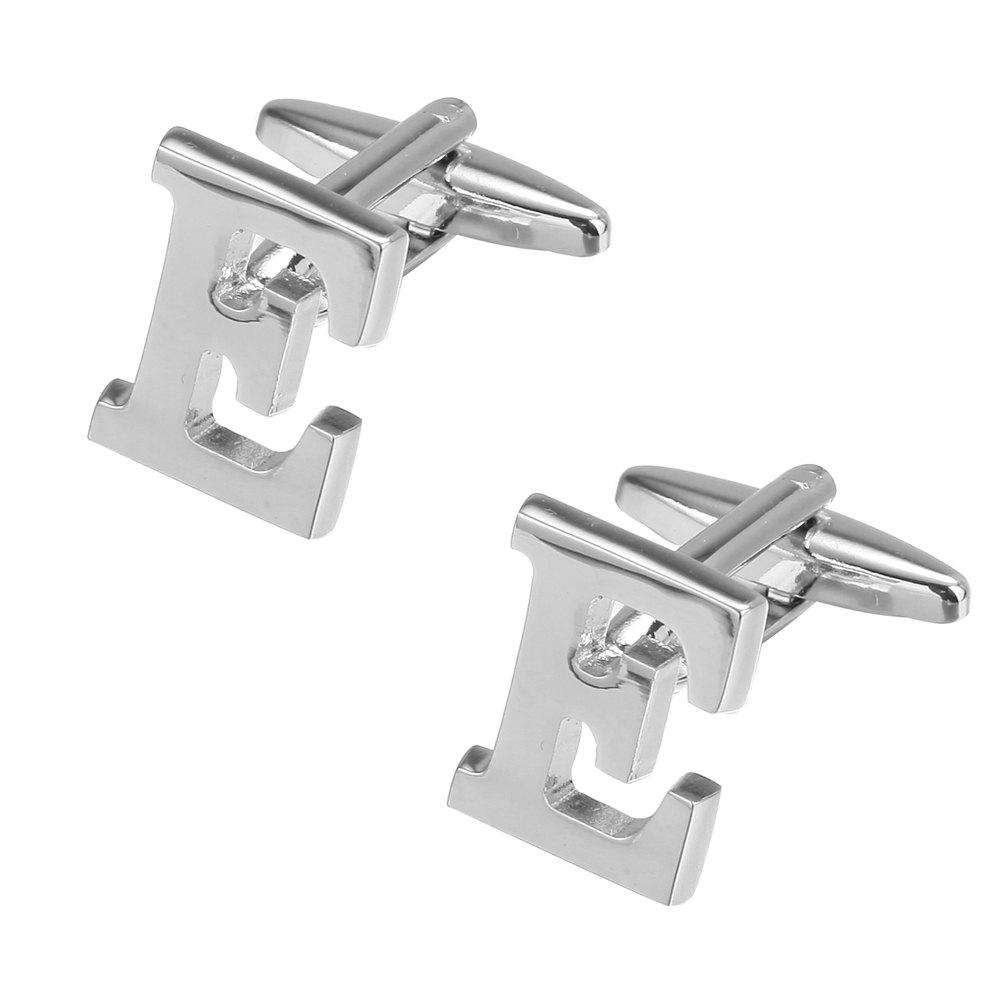 Fashion Silver Plated 26 English Letters Metal Cufflinks E Cuff Links - SILVER