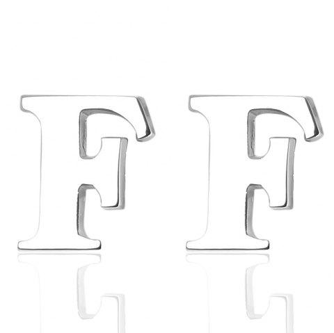 Fashion Silver Plated 26 English Letters Metal Cufflinks F Cuff Links - SILVER
