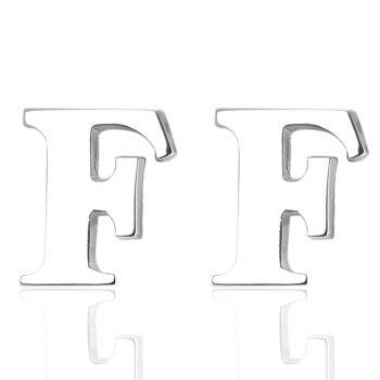 Fashion Silver Plated 26 English Letters Metal Cufflinks F Cuff Links - SILVER SILVER