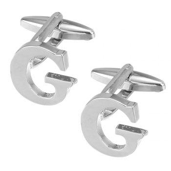 Fashion Silver Plated 26 English Letters Metal Cufflinks G Cuff Links -  SILVER