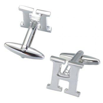 Fashion Silver Plated 26 English Letters Metal Cufflinks H Cuff Links - SILVER