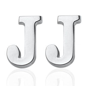 Fashion Silver Plated 26 English Letters Metal Cufflinks J Cuff Links - SILVER SILVER
