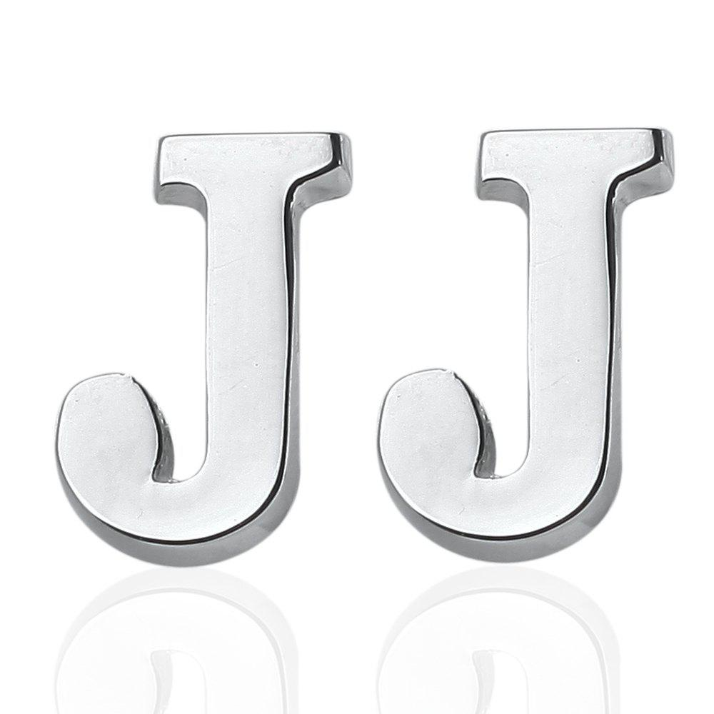 Fashion Silver Plated 26 English Letters Metal Cufflinks J Cuff Links - SILVER