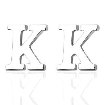 Fashion Silver Plated 26 English Letters Metal Cufflinks K Cuff Links - SILVER SILVER
