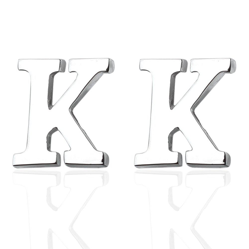 Fashion Silver Plated 26 English Letters Metal Cufflinks K Cuff Links - SILVER