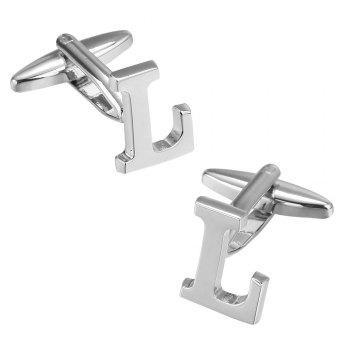 Fashion Silver Plated 26 English Letters Metal Cufflinks L Cuff Links - SILVER