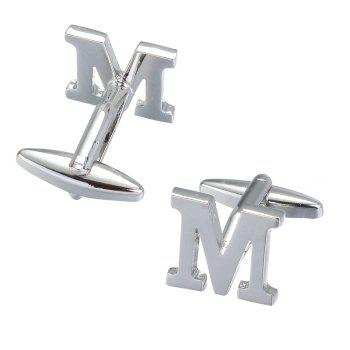 Fashion Silver Plated 26 English Letters Metal Cufflinks M Cuff Links - SILVER