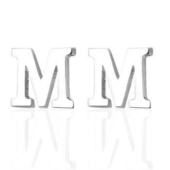 Fashion Silver Plated 26 English Letters Metal Cufflinks M Cuff Links - SILVER SILVER