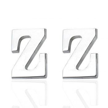 Fashion Silver Plated 26 English Letters Metal Cufflinks Z Cuff Links - SILVER SILVER