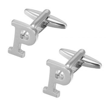 Fashion Silver Plated 26 English Letters Metal Cufflinks P Cuff Links - SILVER
