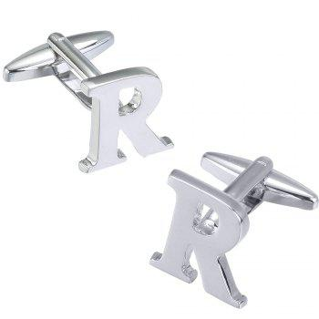 Fashion Silver Plated 26 English Letters Metal Cufflinks R Cuff Links - SILVER