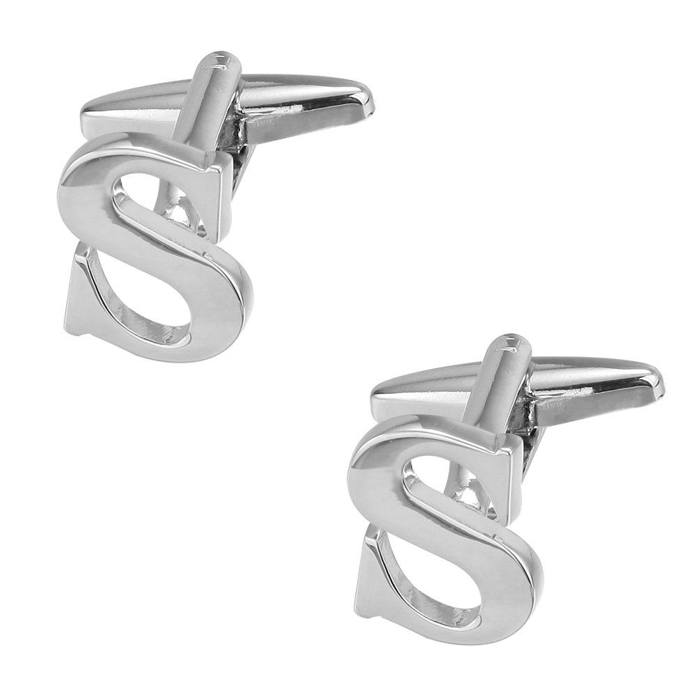 Fashion Silver Plated 26 English Letters Metal Cufflinks S Cuff Links - SILVER