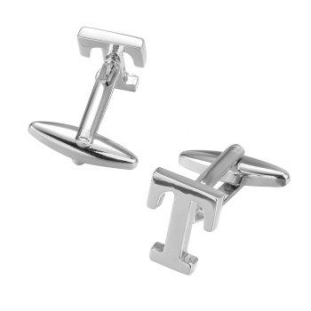 Fashion Silver Plated 26 English Letters Metal Cufflinks T Cuff Links -  SILVER