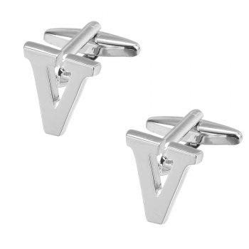 Fashion Silver Plated 26 English Letters Metal Cufflinks V Cuff Links - SILVER