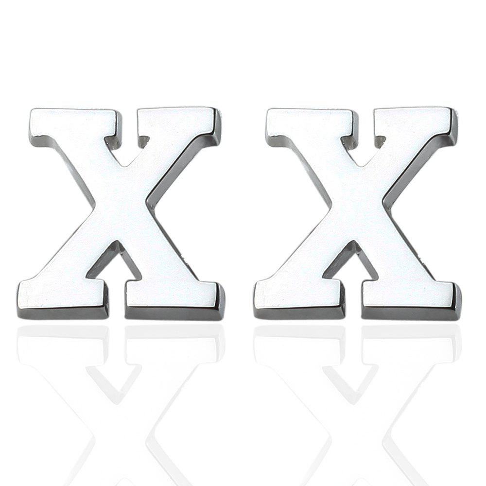 Fashion Silver Plated 26 English Letters Metal Cufflinks X Cuff Links - SILVER