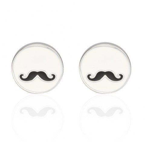 Fashion Oil Dripping Beard Round Cufflinks - WHITE