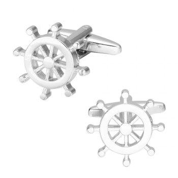 Fashion Silver Rudder Cufflinks French Long Sleeve Shirt Nail - SILVER