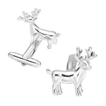 Silver Christmas deer Cufflinks French long sleeved shirt sleeve nail - SILVER