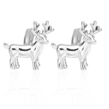 Silver Christmas deer Cufflinks French long sleeved shirt sleeve nail - SILVER SILVER