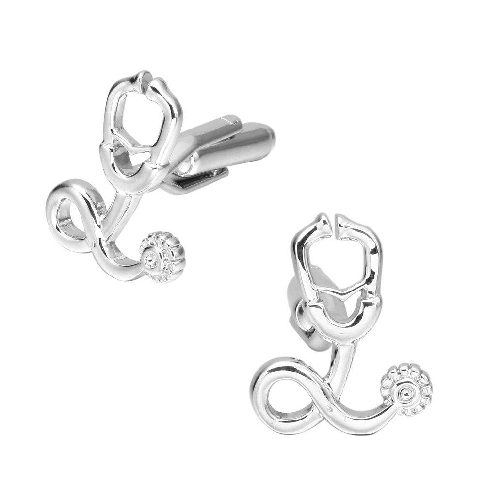 Stethoscope Cufflinks French Long Sleeved Shirt Nail - SILVER