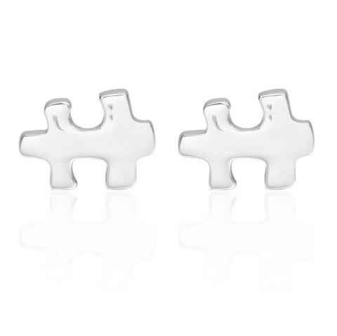 Silver Puzzle Cufflinks French Long Sleeved Shirt Nail - SILVER