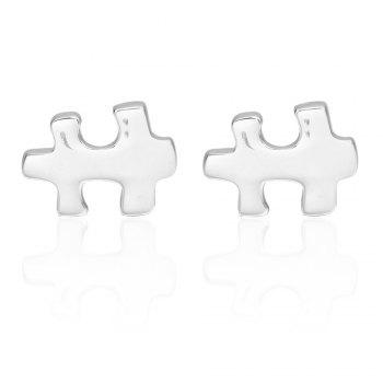 Silver Puzzle Cufflinks French Long Sleeved Shirt Nail - SILVER SILVER