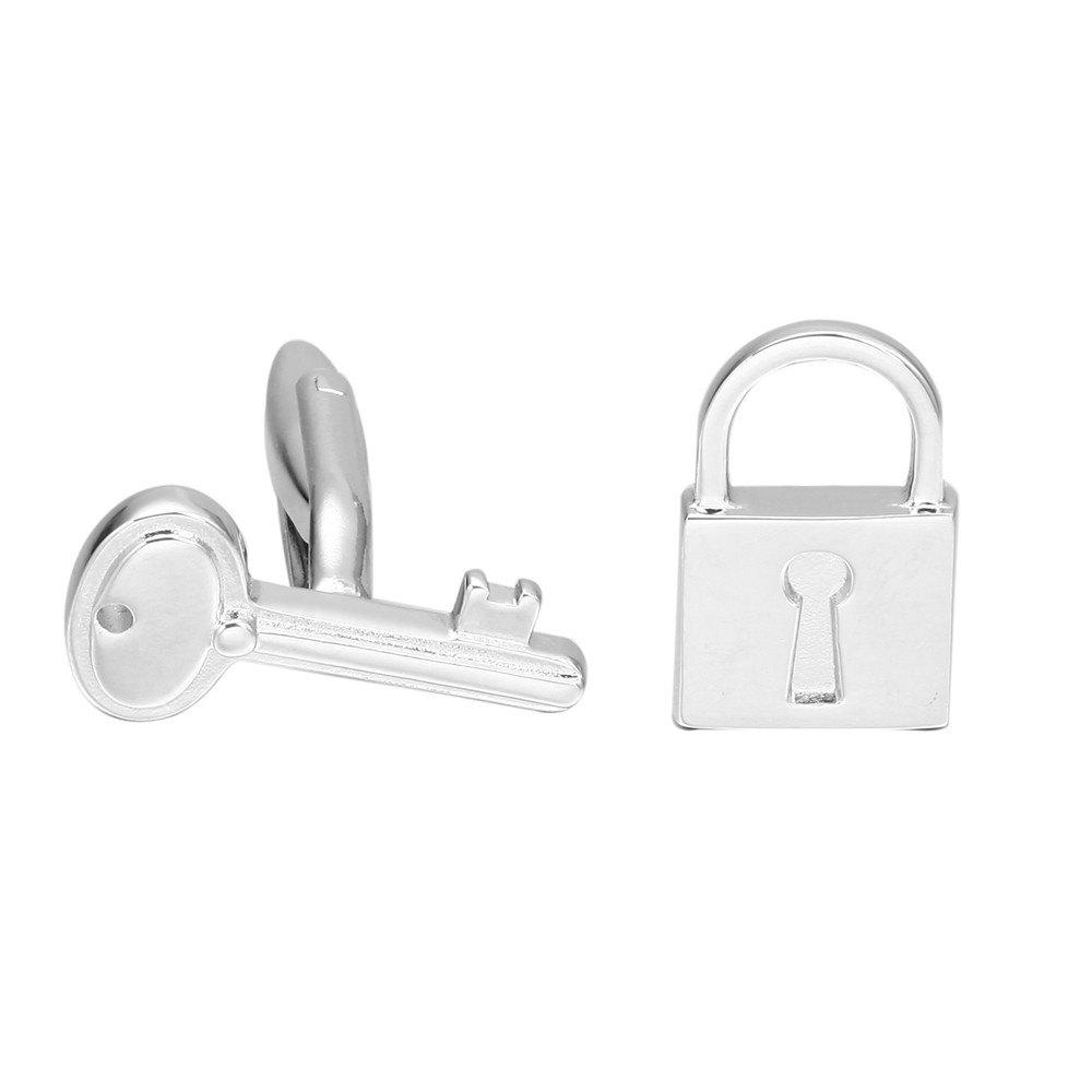 Silver Key and Lock Sleeve Nails Cufflinks - SILVER
