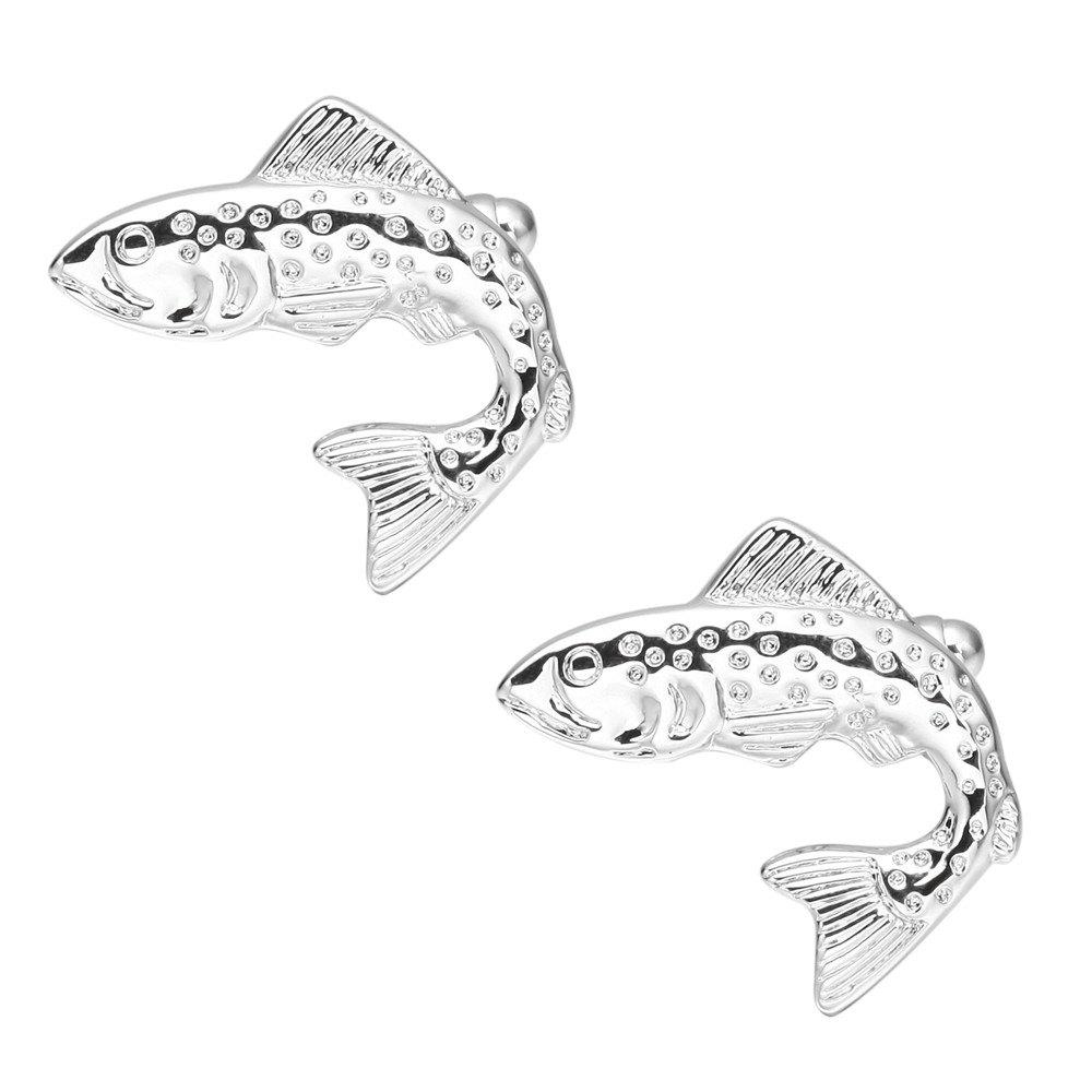 Stereo Silver Fish Cufflinks Long Sleeved Shirt Nail - SILVER