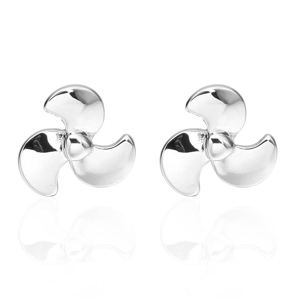 Silver Propeller Fan French Cufflinks Long Sleeved Shirt Nail - SILVER