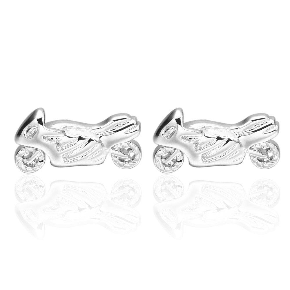 Silver Motorcycle Cufflinks French Long Sleeved Shirt Nail - SILVER