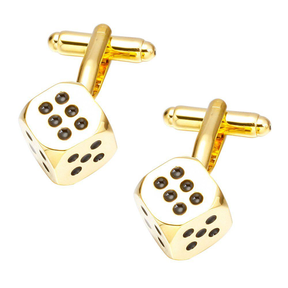 Golden Dice Cufflinks French Long Sleeved Shirt Nail - GOLD