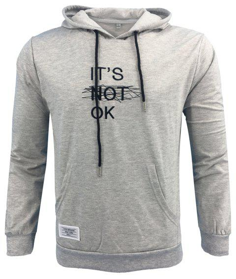 Men 'S Spring and Autumn Fashion Casual Outdoor Sports Hooded Solid Embroidered Long Sleeve Hoodie - GRAY M