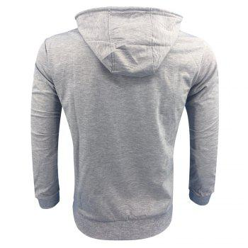 Men 'S Spring and Autumn Fashion Casual Outdoor Sports Hooded Solid Embroidered Long Sleeve Hoodie - GRAY L