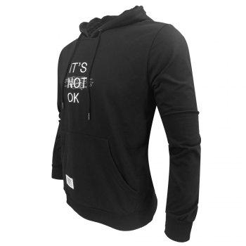 Men 'S Spring and Autumn Fashion Casual Outdoor Sports Hooded Solid Embroidered Long Sleeve Hoodie - BLACK M