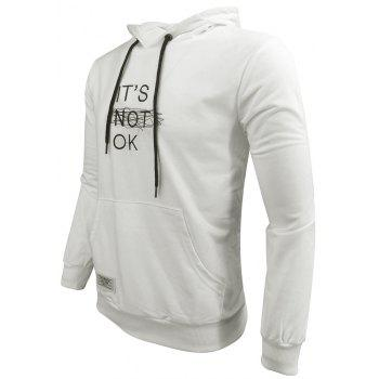 Men 'S Spring and Autumn Fashion Casual Outdoor Sports Hooded Solid Embroidered Long Sleeve Hoodie - WHITE WHITE