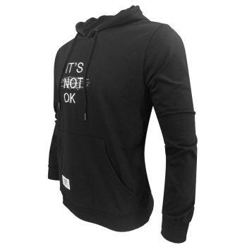 Men 'S Spring and Autumn Fashion Casual Outdoor Sports Hooded Solid Embroidered Long Sleeve Hoodie - BLACK XL