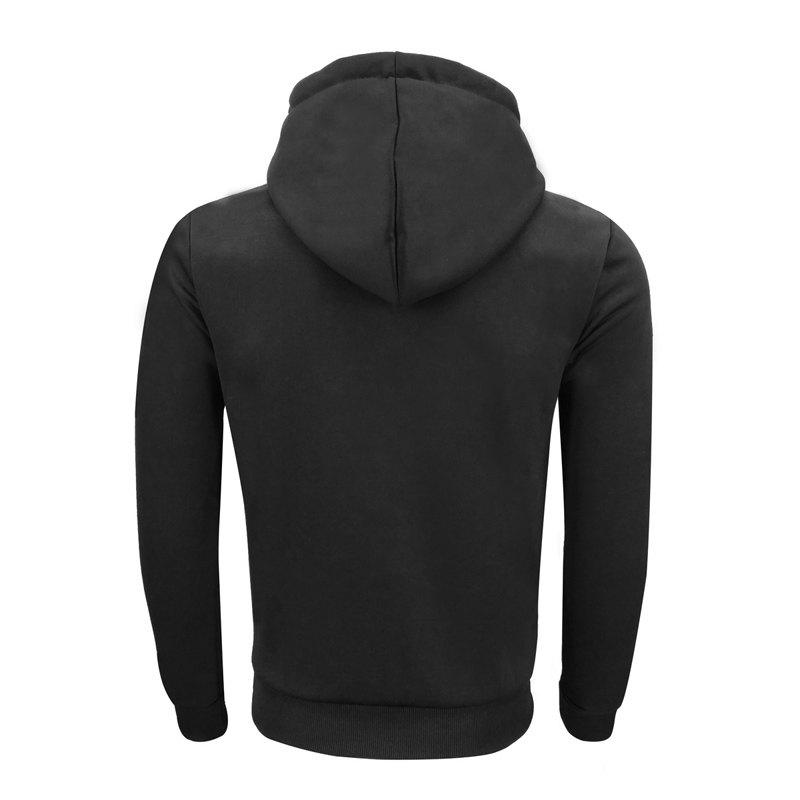 Men 'S Spring and Autumn Fashion Casual Outdoor Sports Hooded Solid Embroidered Long Sleeve Hoodie - BLACK 3XL