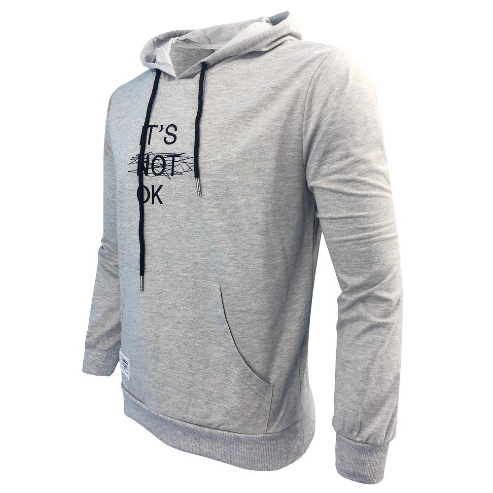 Men 'S Spring and Autumn Fashion Casual Outdoor Sports Hooded Solid Embroidered Long Sleeve Hoodie - GRAY 2XL