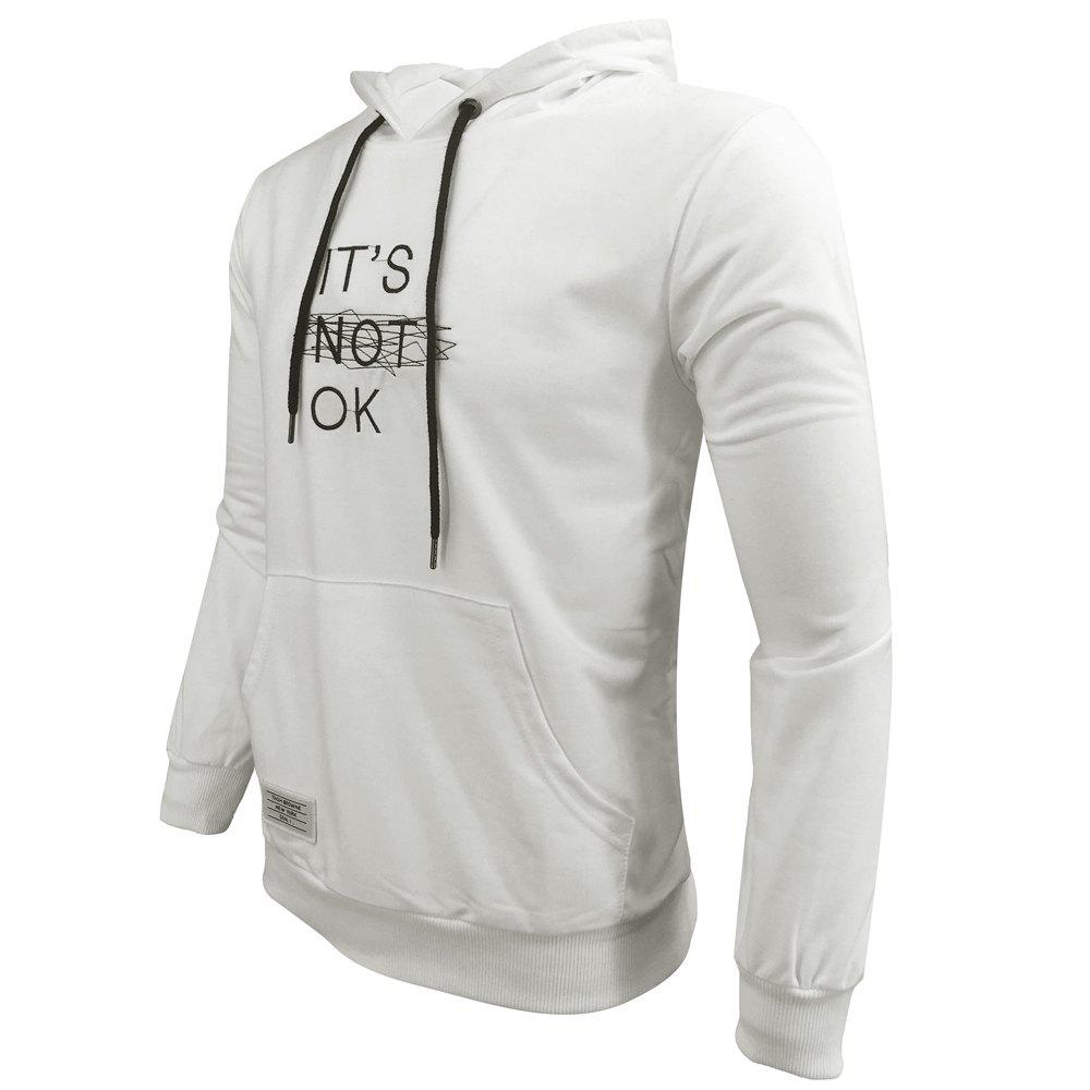 Men 'S Spring and Autumn Fashion Casual Outdoor Sports Hooded Solid Embroidered Long Sleeve Hoodie - WHITE XL