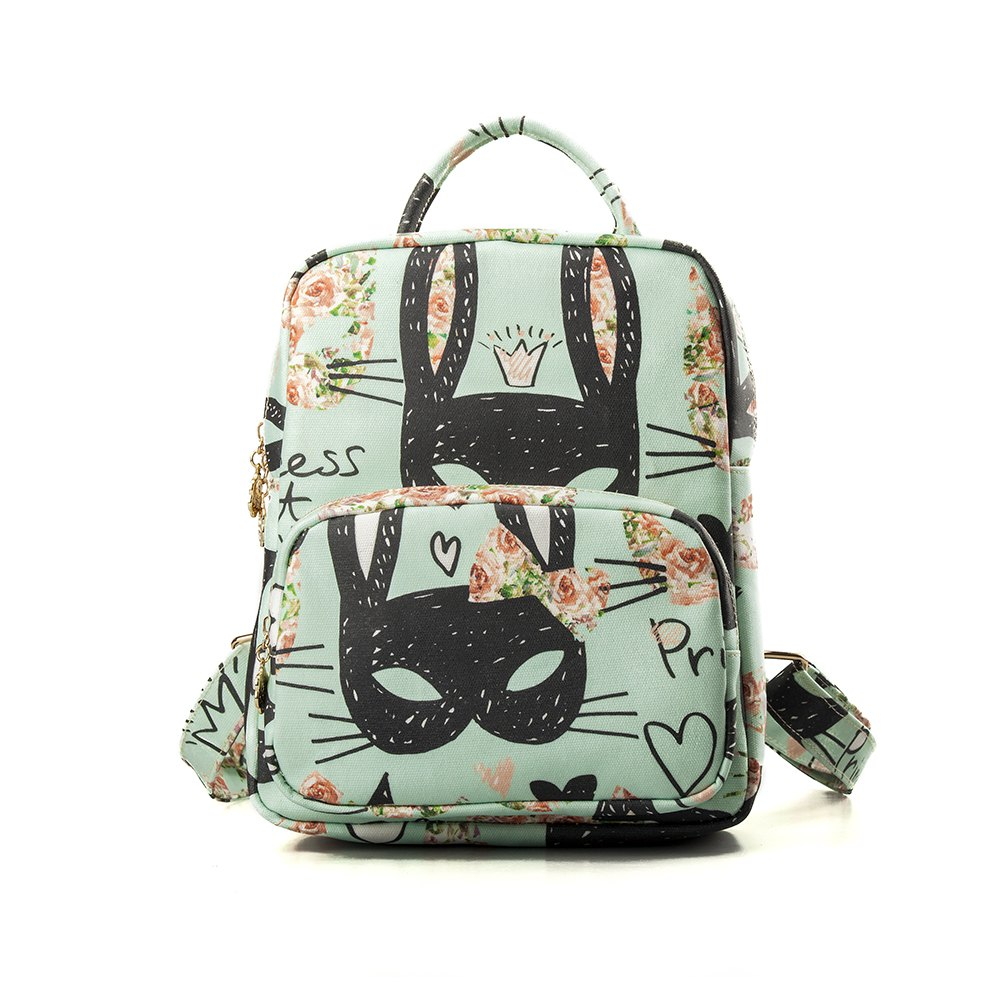 Backpack For Girls Cute Cat Print Backpack Waterproof School Backpack - GREEN