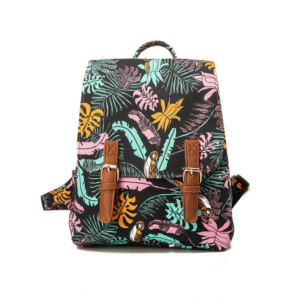 Backpack For Girls Fashion Feather Print Waterproof Backpack - COLORFUL