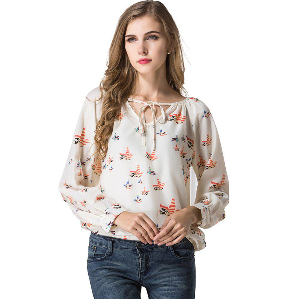 Blouse Women Shirt Top Long Sleeve Women Chiffon Blouse Shirt Casual Clothing Lady Flower Printed Blouses - WHITE L